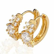 HER GIFT Women Yellow 18K Gold Filled Crystal Hoop Huggie Earrings CAGM113A4