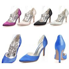 Crystal Women Pointed Toe Formal Party Prom Pumps Heels Bridal Wedding Shoes