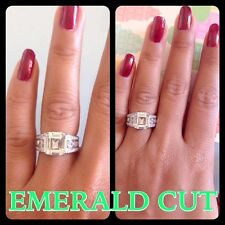 "Rare""*Emerald Cut 4.+CT Engagement Diamond Ring Fine.925.Silver ITALY"