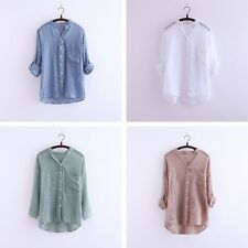 Women's Lady Loose 3/4 Sleeve Casual Blouse Shirt Tops Fashion Blouse 4 Sizes