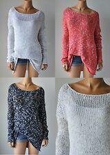 """NWT ABERCROMBIE & FITCH ANF WOMENS """"Hallie"""" Marled EASY-FIT KNIT SWEATER $68"""