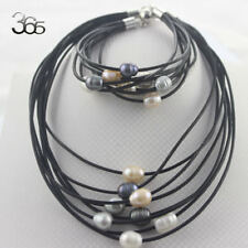 8_Strands Graduated Freshater Pearl Leather Cord  Necklace Bracelet Jewelry Set