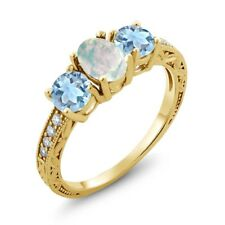 1.55 Ct Oval Cabochon White Opal Sky Blue Aquamarine 18K Yellow Gold Ring