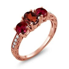 2.22 Ct Oval Red Garnet Red Created Ruby 18K Rose Gold Plated Silver Ring