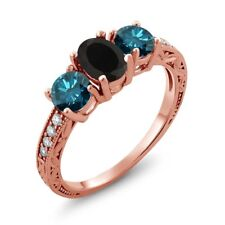 2.02 Ct Oval Black Onyx Blue Diamond 18K Rose Gold Plated Silver Ring