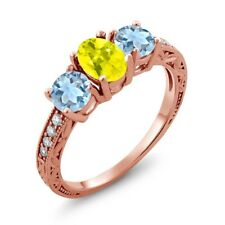 1.72 Ct Canary Mystic Topaz Sky Blue Aquamarine 18K Rose Gold Plated Silver Ring