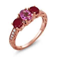 2.02 Ct Oval Pink Mystic Topaz Red Ruby 18K Rose Gold Ring