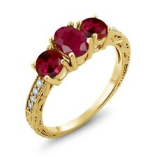 2.34 Ct Oval Red Ruby Red Created Ruby 18K Yellow Gold Plated Silver Ring