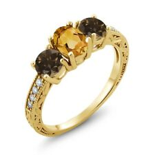 1.64 Ct Oval Yellow Citrine Brown Smoky Quartz 18K Yellow Gold Ring