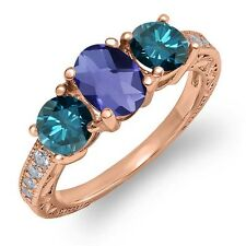 1.87 Ct Oval Checkerboard Blue Iolite Blue Diamond 18K Rose Gold Ring
