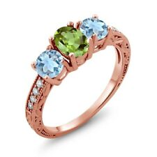 1.72 Ct Oval Green Peridot Sky Blue Aquamarine 18K Rose Gold Plated Silver Ring