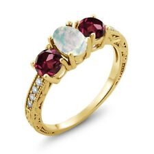 1.95 Ct Oval White Simulated Opal Red Rhodolite Garnet 14K Yellow Gold Ring