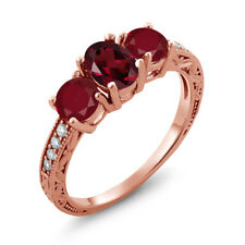 2.12 Ct Oval Red Rhodolite Garnet Red Ruby 18K Rose Gold Plated Silver Ring