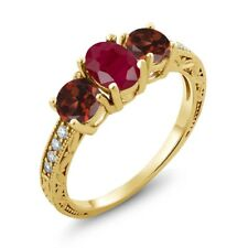 2.24 Ct Oval Red Ruby Red Garnet 18K Yellow Gold Plated Silver Ring