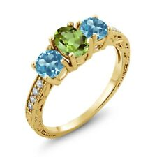 1.92 Ct Oval Green Peridot Swiss Blue Topaz 18K Yellow Gold Plated Silver Ring