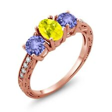 1.84 Ct Oval Canary Mystic Topaz Blue Tanzanite 14K Rose Gold Ring