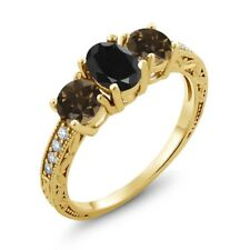 2.11 Ct Black Sapphire Brown Smoky Quartz 18K Yellow Gold Plated Silver Ring