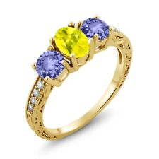 1.84 Ct Oval Canary Mystic Topaz Blue Tanzanite 14K Yellow Gold Ring