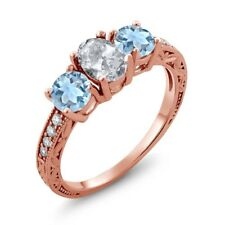 1.87 Ct Oval White Topaz Sky Blue Aquamarine 18K Rose Gold Plated Silver Ring