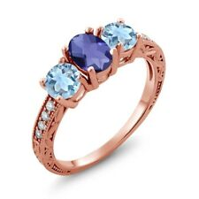 1.77 Ct Oval Checkerboard Blue Iolite Sky Blue Topaz 14K Rose Gold Ring
