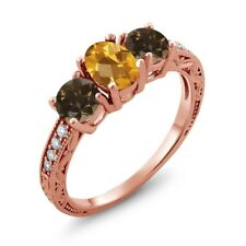 1.74 Ct Oval Checkerboard Yellow Citrine Brown Smoky Quartz 14K Rose Gold Ring