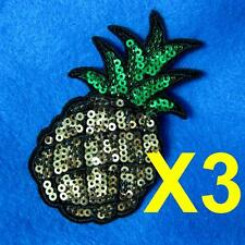 3 Pineapple Fruit Sweet Food Sequin Iron on Sew Patch Applique Badge Embroidered