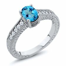 1.40 Ct American Blue Mystic Topaz White Created Sapphire 925 Silver Ring