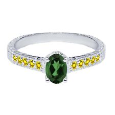 1.40 Ct Emerald Envy Mystic Topaz Yellow Created Sapphire 925 Silver Ring