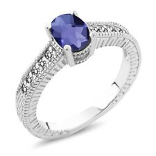 0.98 Ct Oval Checkerboard Blue Iolite White Diamond 925 Sterling Silver Ring