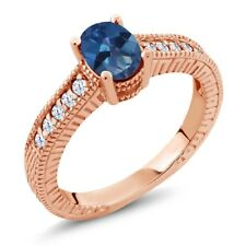 1.35 Ct Royal Blue Mystic Topaz White Topaz 18K Rose Gold Plated Silver Ring