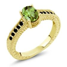 1.13 Ct Oval Green Peridot Black Diamond 18K Yellow Gold Plated Silver Ring