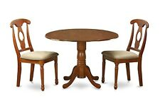 Dublin Saddle Brown 3 Pieces small kitchen table set-Table and 2 Kitchen chairs