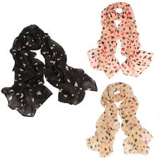 New Womens Girls Scarf Love Heart Printed Soft Long Shawl Scarf Wrap Stole New