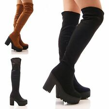 LADIES WOMENS BOOTS KNEE HIGH PLATFORM CHUNKY BLOCK HEEL STRETCH SHOES SIZE