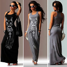 Women Ladies Sexy Sleeveless Evening Party Maxi Long Dress Cat Print Plus Size