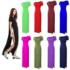 Womens Ladies Double Side Slit High Waist Split Long Maxi Dress Top Plus Size