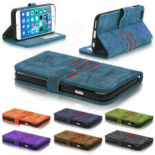 Real Genuine Suede Leather Flip Wallet Slim Case Cover For Mobile Phones