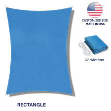 Custom Size Blue Rectangle Sun Shade Sail Fabric Awning Cover Canopy 5' to 24'