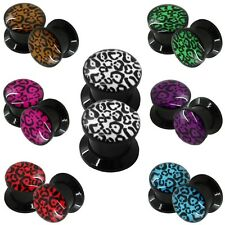 Flesh Tunnel Ear Plug Piercing Gauge Leopard Animal Print Acrylic To Screw