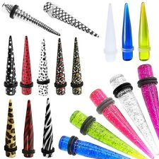 Ear Taper Expander Plug Piercing Gauge Stretcher Flesh Tunnel Earring Zebra Star