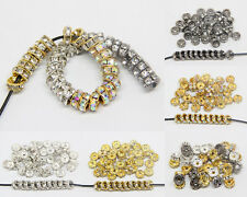 100PCS   Czech Crystal Rhinestone Silver Rondelle Spacer Beads 5mm 6mm 7mm  8mm