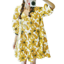 Women V Neck 3/4 Sleeve Floral Prints Loose Fitting Casual Tunic Dress