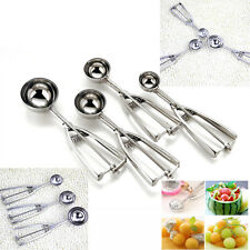 Stainless Steel Ice Cream Kitchen Mashed Potato Cookie Scoop Spoon Spring Handle
