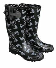 Ladies Women's GUMBOOTS Garden Shoes Black Grey Pink ROSES Shabby Chic ALL SIZES