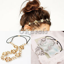 Women Pearl Metal Flower Head Chain Headband Head Piece Hair Band Jewelry Nice