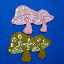 Sequin Mushroom Iron on Sew Patch Cute Applique Badge Embroidered Biker Baby Kid