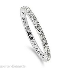 2 mm 925 Sterling Silver & Pave Cubic Zirconia CZ Stacking Eternity Band Ring