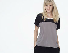 NWT $165 James Perse Stretch Woven Colorblock Tee in Spruce/Black/White (Size:0)