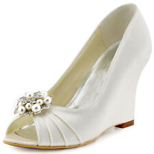 WP1549 High Heel Wedges Peep Toe Pearls Clips Pleated Satin Wedding Party Shoes