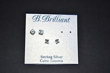 B. Brilliant Sterling Silver Clear Cubic Zirconia Trio Stud Earring Set